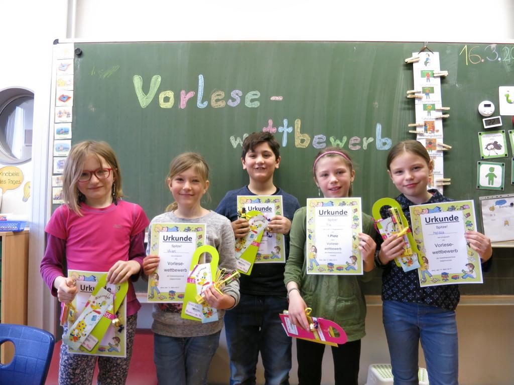 Die besten Vorleser der 3. Klasse an der Kaleidoskop Schule